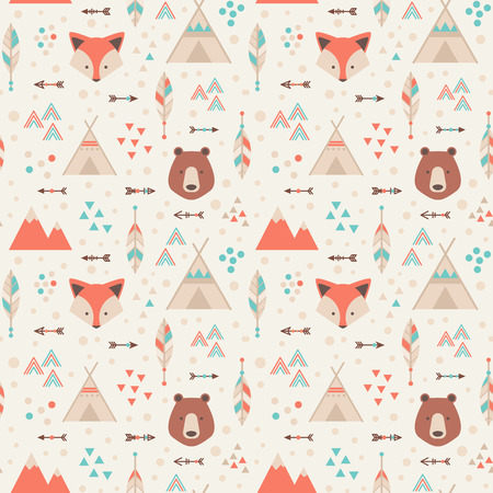 Cute trible geometric seamless pattern in cartoon style with fox, bear, lodge houses, arrows, feathers for fabric and web backgrounds Illustration