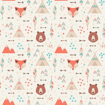zorro: Lindo patrón transparente geométrica trible en estilo de dibujos animados con el zorro, oso, casas lodge, flechas, plumas de la tela y la web fondos Vectores