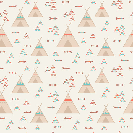 teepee: Cute trible geometric seamless pattern in cartoon style with wigwams, arrows and triangles for fabric and web backgrounds