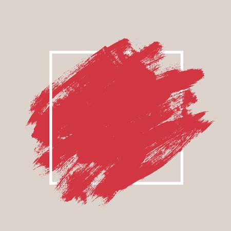 encre: Résumé peint à la main texturé pinceau de calligraphie fond avec cadre géométrique, coups isolés avec des bords sèches et rugueuses