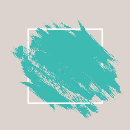 Abstracte hand beschilderde textuur inkt penseel achtergrond met geometrische frame, geïsoleerde streken met droge ruwe randen Stockfoto - 43143954