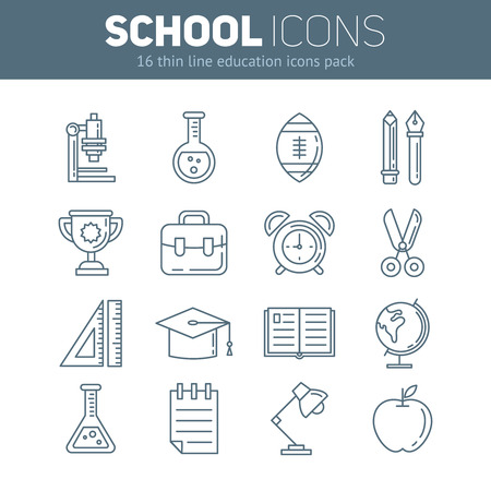 school thin lined flat icons in outlined style with education info graphic elements