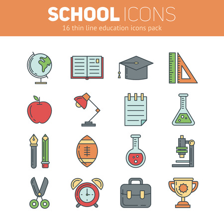 flat globe: Set of school icons in outlined style with education info graphic elements
