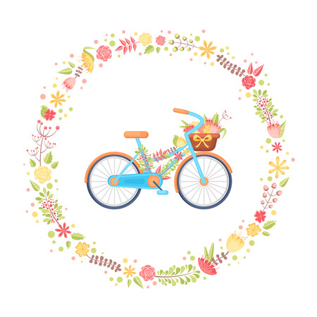 Colorful flat elegant bicycle for children and girls with flowers in the basket in a floral wreath with leaves and petals