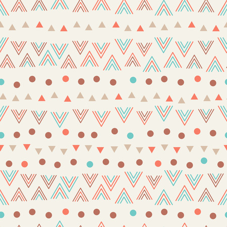 tribal: Cute tribal geometric seamless pattern in cartoon style with triangle arrow heads for fabric and web backgrounds