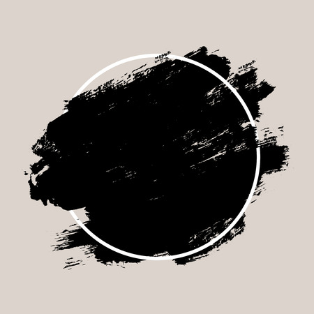 Abstract hand painted textured ink brush background with geometric frame