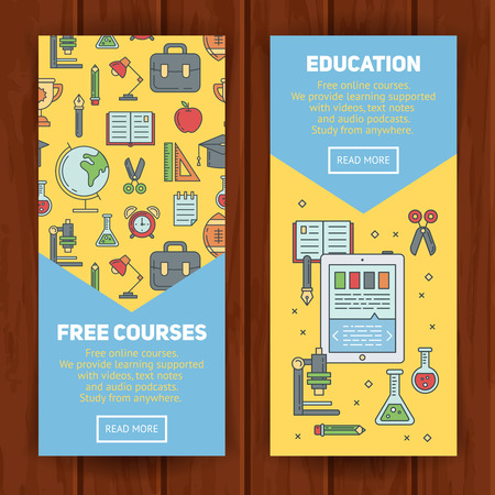 flat globe: School banners templates with thin lined education elements