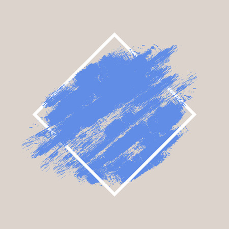 rough background: Abstract hand painted textured ink brush background with geometric frame, isolated strokes  with dry rough edges