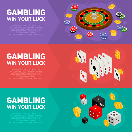 Casino isometric design concept of gambling templates with game items - roulette, poker chips, playing cards, dice, domino, coins Vectores