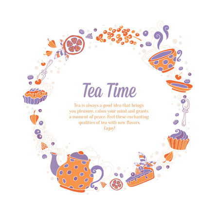 Elegant set of hand drawn tea and cakes circle wreath for business cards, shop flyers or invitations with teapot, cup, cakes, sweets and berries with text on grungy background
