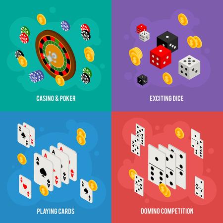 fichas casino: Casino concepto de diseño isométrico de plantillas de juego con elementos de juego - ruleta, fichas de póquer, juegos de cartas, dados, dominó, monedas