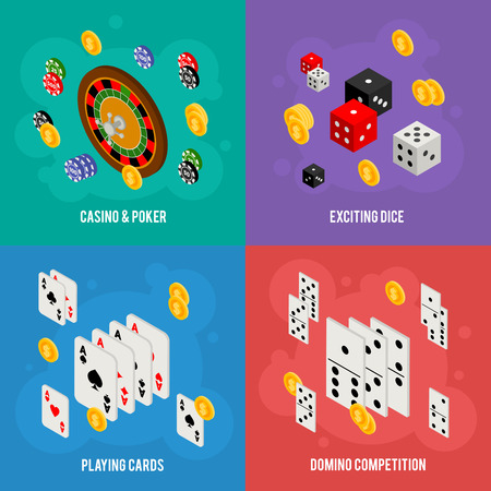 gambling game: Casino isometric design concept of gambling templates with game items - roulette, poker chips, playing cards, dice, domino, coins Illustration