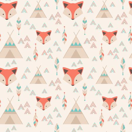 tribales: Lindo patrón transparente geométrica tribal en estilo de dibujos animados con el zorro, tiendas indias, flechas y plumas de la tela y la web fondos Vectores