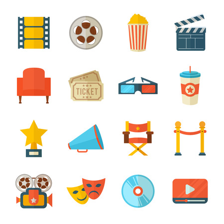 A detailed set of flat style cinema icons for web and design with movie symbols, 3D glasses, film reel, popcorn, tickets, web media