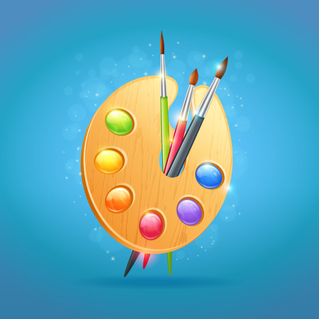 proficiency: Realistic artists textured wooden palette for drawing with colorful paints and paintbrushes isolated on empty background