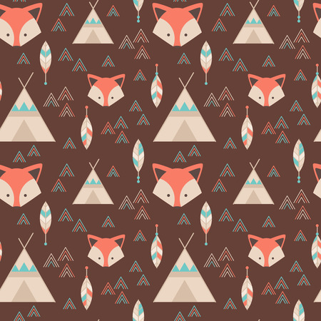 fox: Cute tribal geometric seamless pattern in cartoon style with fox, wigwams, arrows and feathers for fabric and web backgrounds Illustration