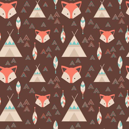zorro: Lindo patr�n transparente geom�trica tribal en estilo de dibujos animados con el zorro, tiendas indias, flechas y plumas de la tela y la web fondos Vectores