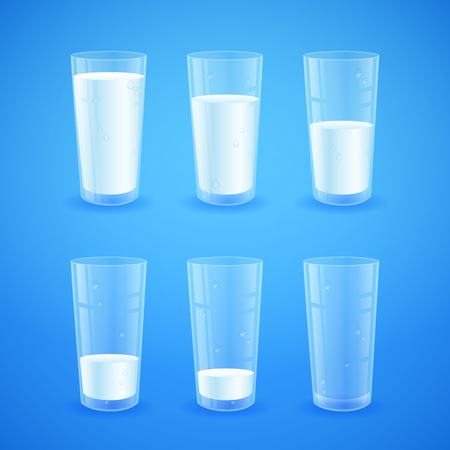halves: Transparent realistic glasses of milk on blue background, from full to half filled to empty, nutricios and organic, for breakfast