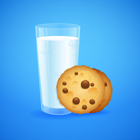 milk and cookies: Realistic set of glass of milk and baked oatmeal cookies with chocolate chip isolated on blue background Illustration