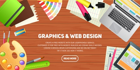 work on computer: Flat design illustration concept for education, study, career training, teamwork, business learning. Isolated workspace elements on wood desktop background - laptop, tablet, pantone, palette, pencil, marker, notebook. Template for web banner and printed m Illustration