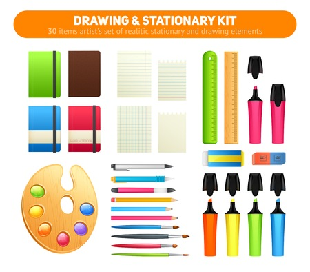 Stationary kit of supplies for drawing and writing,  office set of items - pens, pencils, paper, sketch pads, artists palette and paint brushes, markers, erasers, rulers