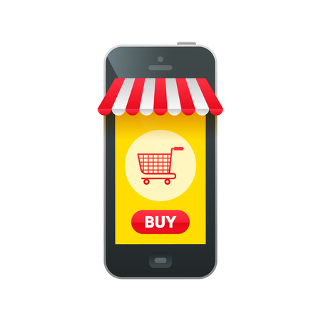 phone button: Online market in smartphone icon with realistic phone, shopping basket cart, buy button and white and red striped sun tent