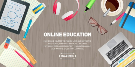 pc: Flat design illustration concept for education, study, career training, teamwork, business learning. Isolated workspace elements on wood desktop background - laptop, tablet, headphones, glasses, coffee, marker. Template for web banner and printed material