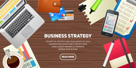 Flat design illustration concept for business, finance, consulting, management, career. Isolated workspace elements on wood desktop background - laptop, smartphone, notebook, coffee, cards, charts. Template for web banner and printed materials.