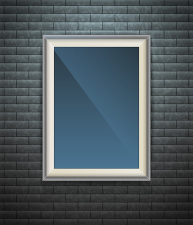 blank poster: Realistic blank poster in a wooden picture frame hanging on a textured dark brick wall, empty template for mockup, banner and artwork