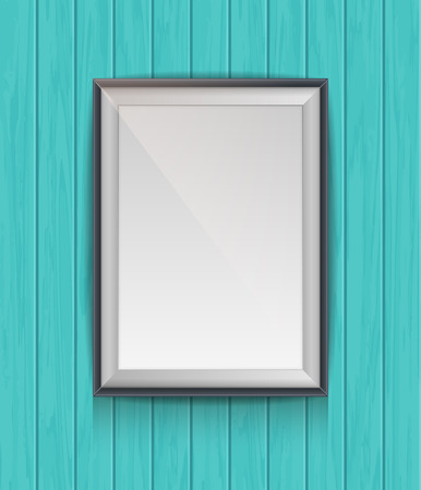 Realistic blank poster in a wooden picture frame hanging on a textured blue wooden plank wall, empty template for mockup, banner and artwork