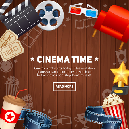 cinema strip: Realistic cinema movie poster template with film reel, clapper, popcorn, 3D glasses, concept banner on wooden planks background