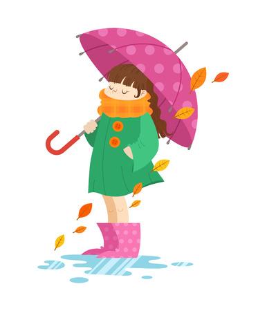 raining: Niña de dibujos animados de otoño sosteniendo un paraguas, de pie en botas de goma patrón de color rosa en un charco, aislado en fondo blanco