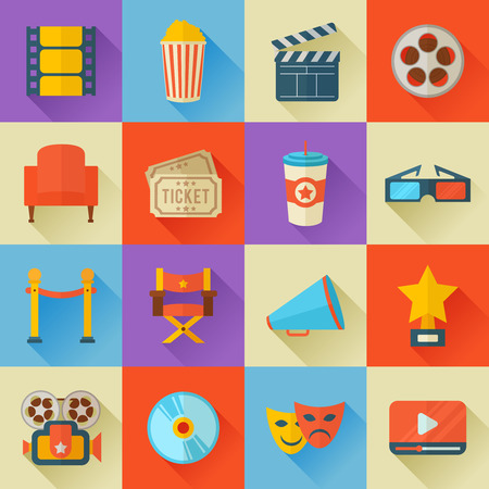 movie clapper: A detailed set of flat style cinema icons for web and design with movie symbols, 3D glasses, film reel, popcorn, tickets, web media