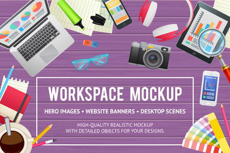 Flat concept template for education, study, business, web design. Isolated workspace elements on wooden background - desktop devices and gadgets for banners and advertisement