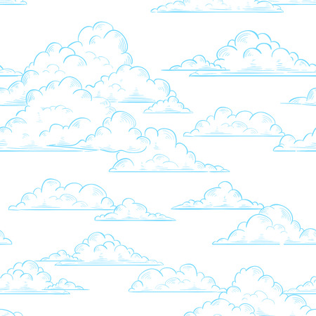 clouds and sky: Clouds seamless pattern hand-drawn illustration on white sky background, texture for print, wrapping paper, fabric and wallpaper Illustration