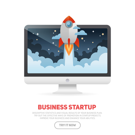 Business start up concept template with realistic desktop monoblock PC and flat cartoon rocket flying out of the display screen, isolated on white banner