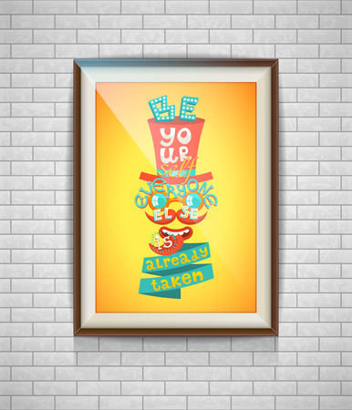 textured wall: Realistic lettering retro poster in a wooden picture frame hanging on a textured white brick wall,  template for mockup, banner and artwork