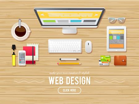 자인, 웹 배너, 관리자, 팀워크, 비즈니스 플랫 디자인 일러스트 레이 션 개념입니다. 나무 배경에 - 컴퓨터, 태블릿, 스케치북, 전화