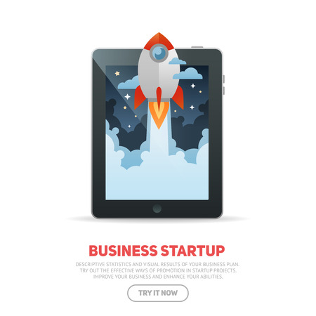 Business start up concept template with realistic digital tablet and flat cartoon rocket flying out of the desktop screen, isolated on white banner