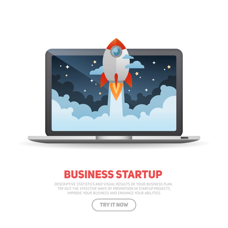 Business start up concept template with realistic laptop and flat cartoon rocket flying out of the desktop screen, isolated on white banner