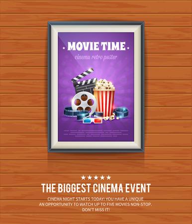cine: Cartel de cine realista en un marco de madera que cuelga en una pared de madera con textura, películas plantilla para maqueta, banner y obra