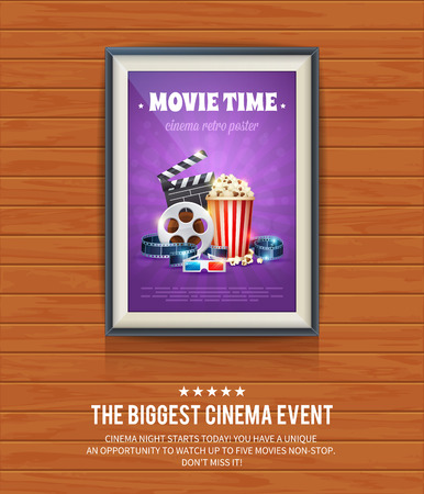 movie and popcorn: Realistic cinema poster in a wooden picture frame hanging on a textured wooden wall, movies template for mockup, banner and artwork Illustration
