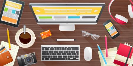 productividad: Conjunto realista de los elementos del espacio de trabajo concepto banner para presentaciones de negocios, plantillas de sitios web, maqueta con dispositivos modernos, ordenador, tableta, tel�fono inteligente, c�mara