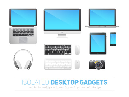 Set of realistic responsive desktop devices with blank screens for mockups and templates, isolated on white: monitor, laptop, tablet, phone, headphones, camera, keyboard, mouse