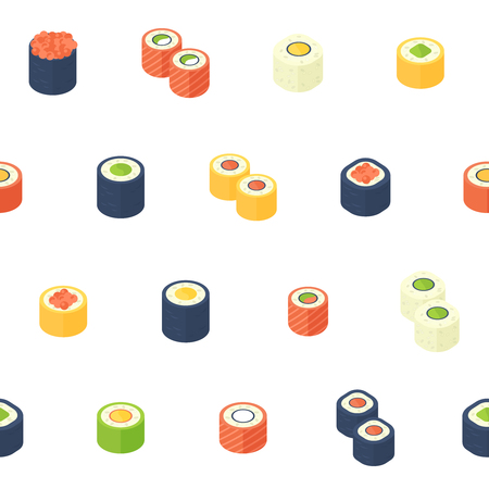 vin: Flat isometric sushi seamless pattern with asian cuisine for web backgrounds, food delivery sites, print and fabric