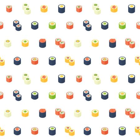 아시아 웹 배경 요리, 음식 배달 사이트, 인쇄 및 직물 플랫 아이소 메트릭 초밥 원활한 패턴