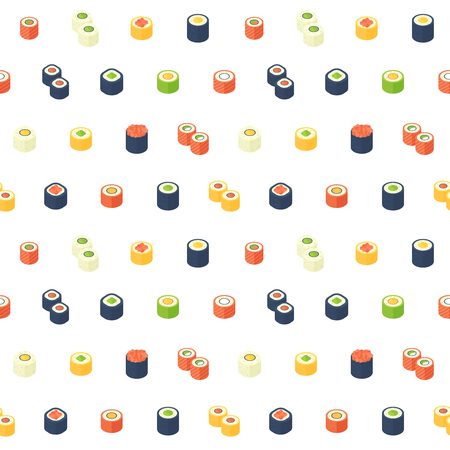 Flat isometric sushi seamless pattern with asian cuisine for web backgrounds, food delivery sites, print and fabric