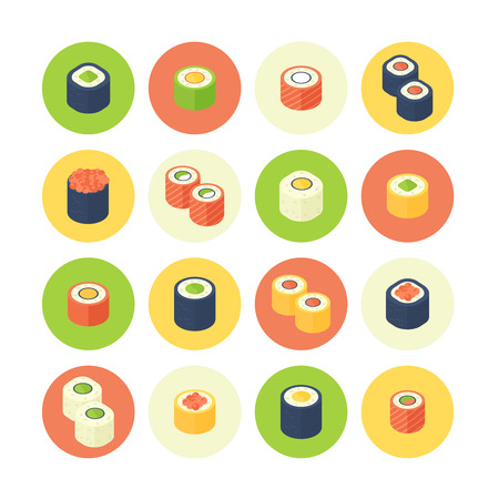 Flat isometric sushi icons set with cartoon stylized japanese rolls and food for mobile apps, web sites and restaurant menu Ilustrace
