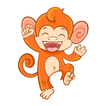 baby animals: Cute cartoon smiling monkey character of 2016 chinese new year symbol isolated on white background