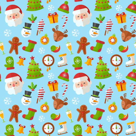 christmas cookie: Christmas seamless pattern with flat winter elements - Santa, deer, gingerbread cookie, stocking, xmas tree, snowflakes Illustration